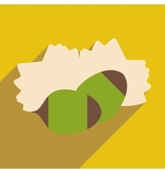 Flat with shadow icon and mobile application pine vector