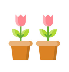 Flower pot isolated spring season flat icon vector