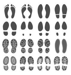 footprints silhouettes barefoot steps prints vector image