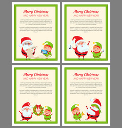 Four merry christmas and happy new year cards vector
