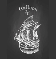 Galleon on blackboard vector
