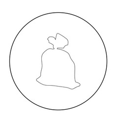 garbage bag icon in outline style isolated on vector image