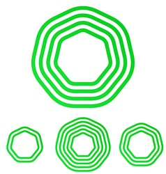 Green line heptagon logo design set vector