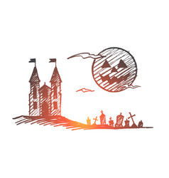 Hand drawn halloween castle cemetery full moon vector