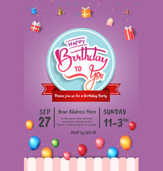 Happy birthday invitation design with circle red vector