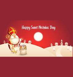 Happy saint nicholas day - winter scene greeting vector