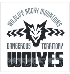 Head Wolf - North American ornamental style vector image