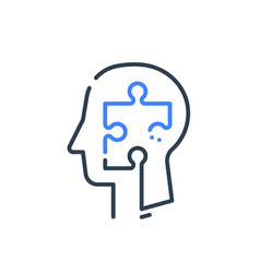 human head profile and jigsaw puzzle psychology vector image