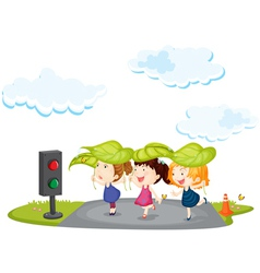 Kids crossing street vector