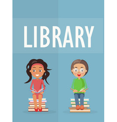 Library promotion poster with kids vector