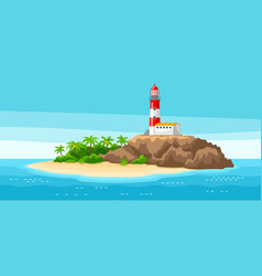 Lighthouse on rocky coast vector