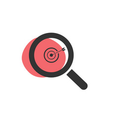 Magnifying glass looking for a target isolated vector