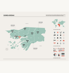 Map guinea-bissau high detailed country vector