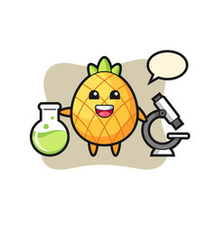 Mascot character pineapple as a scientist vector
