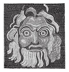 Mosaic baths of Agrippa vintage engraving vector
