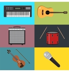 Musical instruments set of vector image