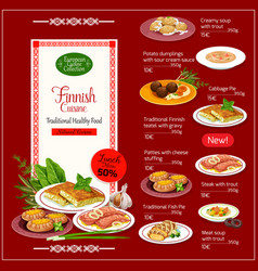 National finnish cuisine menu with healthy food vector