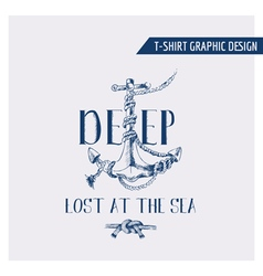 Nautical Anchor Graphic Design - for t-shirt vector image