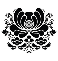 Norwegian folk art black and white pattern vector image