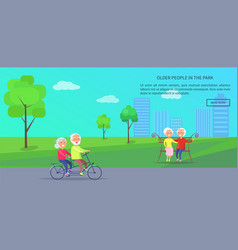 Old people in park banner of mature couples vector