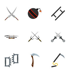 Old weapons icons set flat style vector