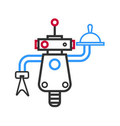 outlined robot waiter with meal on tray and napkin vector image