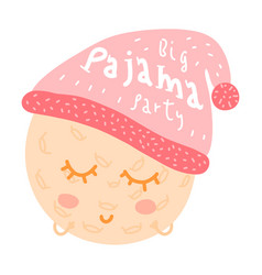 Pajama party poster with funny doodle moon in vector