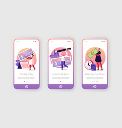 People getting and signing paycheck mobile app vector