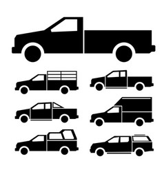 Pickup truck icon set vector
