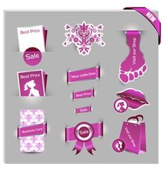pink labels for women shop vector image vector image