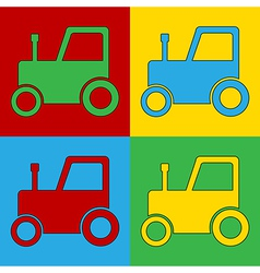 Pop art tractor icons vector