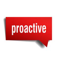 Proactive red 3d speech bubble vector