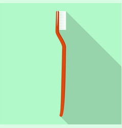 red toothbrush icon flat style vector image