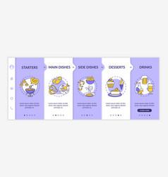 Restaurant menu onboarding template vector