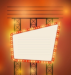 Retro cinema theater bright bulb sign vector image