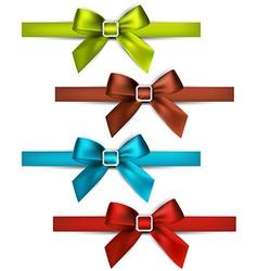 Satin color ribbons Gift bows vector image