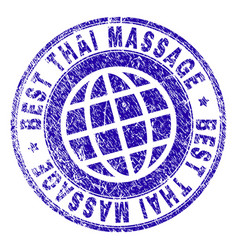 scratched textured best thai massage stamp seal vector image