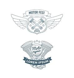 set biker badges vector image