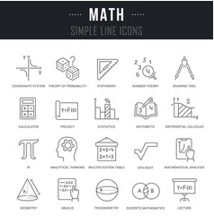 Set line icons math vector