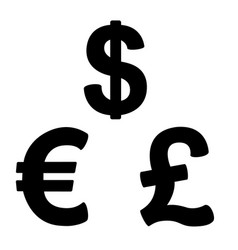 Set of currency symbols black and white vector
