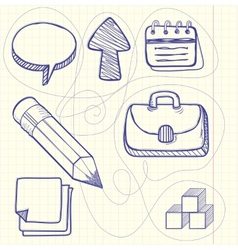 Set of doodle business management vector
