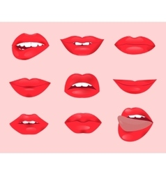 Set of glamour lips with red lipstick color vector