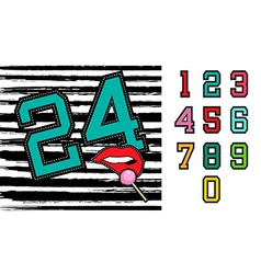 Set of retro university team number signs vector