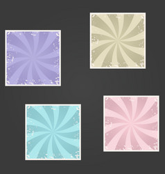 Set of sunburst retro textured grunge backgrounds vector