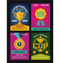 Set posters for competitions with trophy and vector