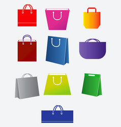 set shopping bag collection for e-commerce vector image
