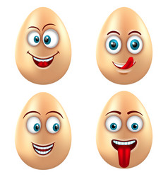 Set smiling funny eggs positive emotions vector