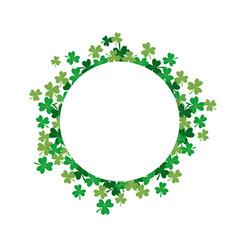 Shamrock flower circle frame vector