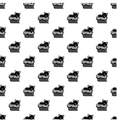 Sleeping cat pattern seamless vector