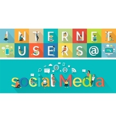 Social Media Concept in Flat Style Design vector